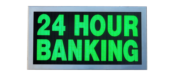 TCS Signs model 917 LED backlit drive thru 24 HOUR BANKING sign in a stainless steel case with a brushed stainless steel finish.