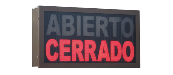 TCS Signs model 917 LED backlit drive thru ABIERTO CERRADO sign in a stainless steel case with a dark bronze powder coat finish.