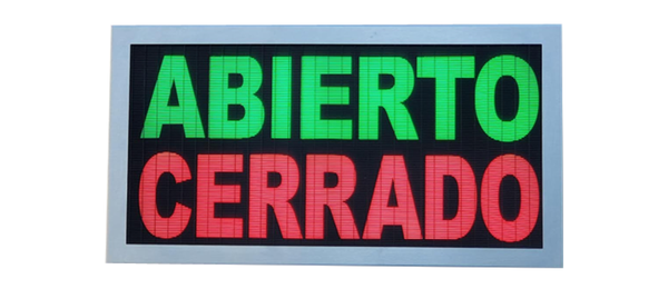 TCS Signs model 917 LED backlit drive thru ABIERTO CERRADO sign in a stainless steel case with a brushed stainless steel finish.