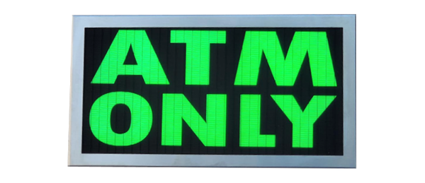TCS Signs model 917 LED backlit drive thru ATM ONLY sign in a stainless steel case with a brushed stainless steel finish.