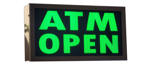 TCS Signs model 917 LED backlit drive thru ATM OPEN sign in a stainless steel case with a dark bronze powder coat finish.