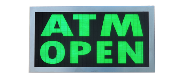 TCS Signs model 917 LED backlit drive thru ATM OPEN sign in a stainless steel case with a brushed stainless steel finish.