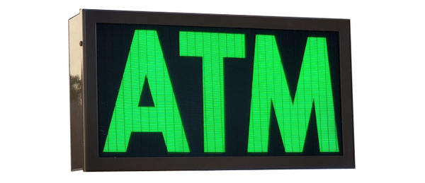 TCS Signs model 917 LED backlit drive thru ATM sign in a stainless steel case with a dark bronze powder coat finish.
