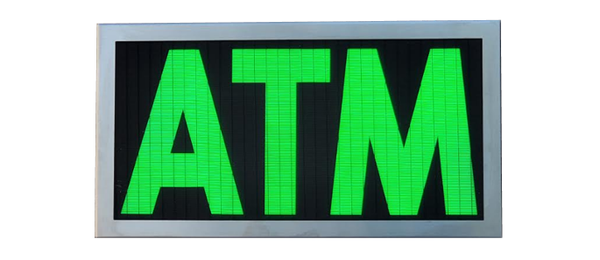 TCS Signs model 917 LED backlit drive thru ATM sign in a stainless steel case with a brushed stainless steel finish.