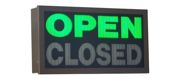 TCS Signs model 917 LED backlit drive thru OPEN CLOSED sign in a stainless steel case with a dark bronze powder coat finish.