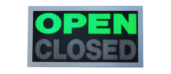 TCS Signs model 917 LED backlit drive thru OPEN CLOSED sign in a stainless steel case with a brushed stainless steel finish.