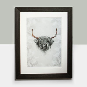 Rhianne Sian Designs Highland Cow & Thistle Illustrated Limited Edition Artwork with Hand Foiled Horns