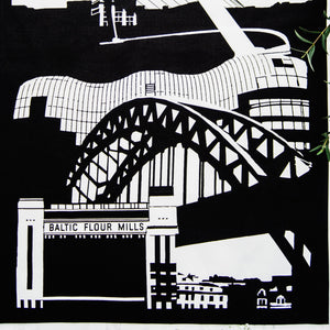 Powder Butterfly Newcastle Skyline Print Tea Towel