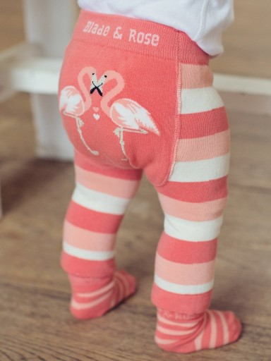 A Love and A Kiss Flamingo Pink and Cream Chunky Striped Leggings