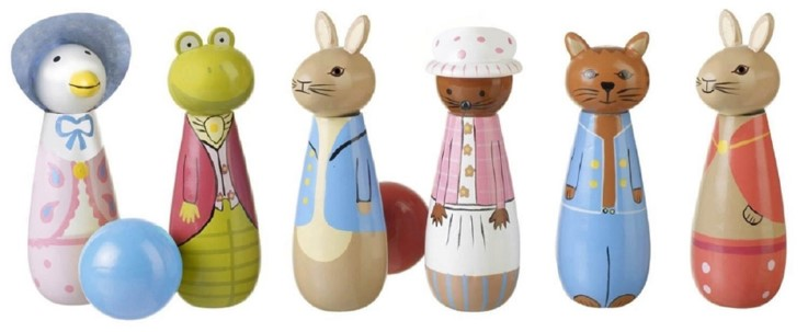 A Love And A Kiss Set of Six Wooden Peter Rabbit Skittles.