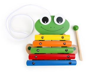 Wooden Toy Chest Pull-Along Frog Xylophone
