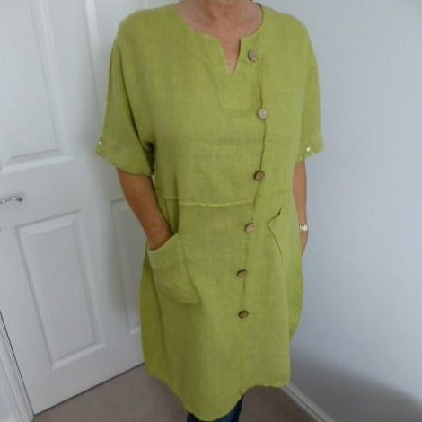 Eden Boutique Green Linen Dress