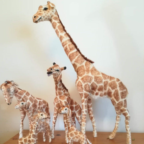 Hand Crafted Felted Giraffe Family
