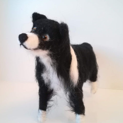 Handcrafted Felted Border Collie