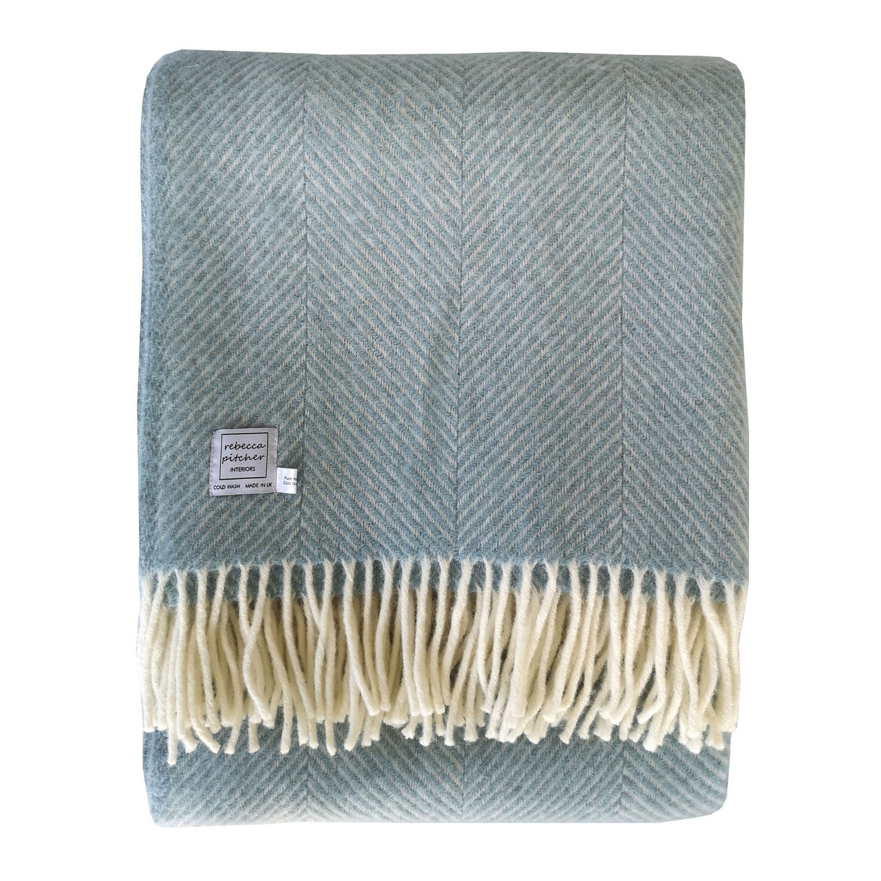 Rebecca Pitcher Large Duck Egg Blue Wool Throw
