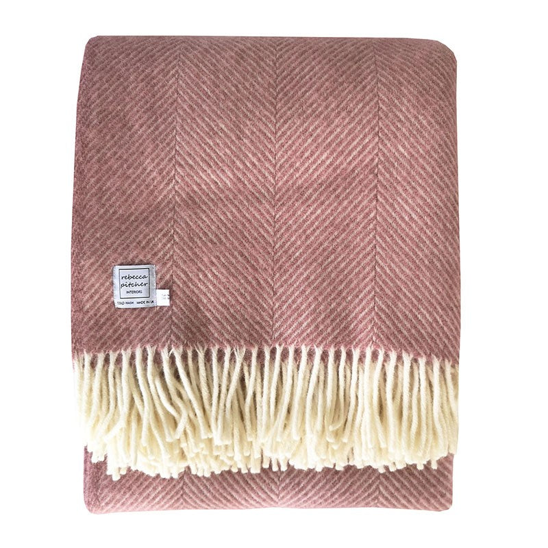 Rebecca Pitcher Large Dusky Pink Wool Throw