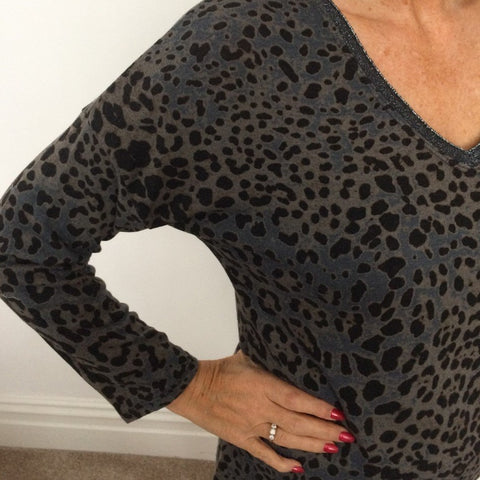 Eden Boutique Grey V Neck Leopard Print Jumper