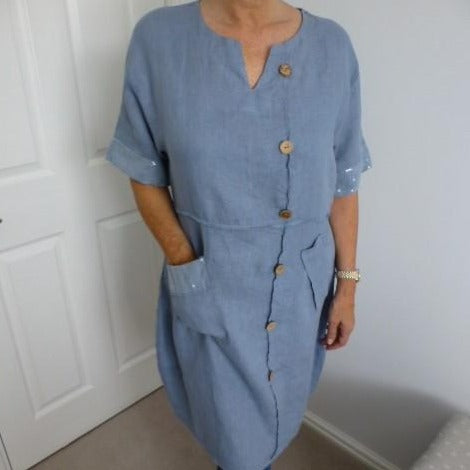 Eden Boutique Blue Linen Dress