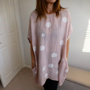 Eden Boutique Pink Spotted Linen Tunic