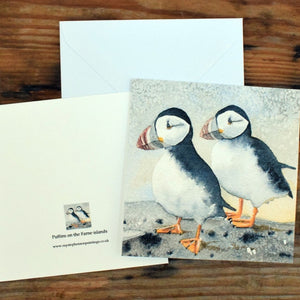 Ray Stephenson Greeting Card Puffins on the Farne islands