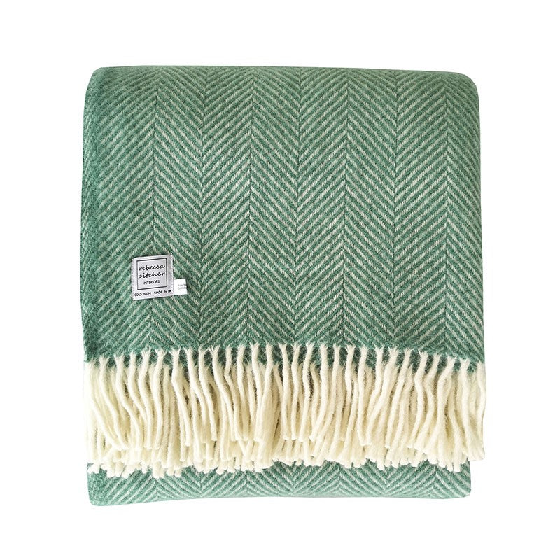 Rebecca Pitcher Sea Green Wool Throw