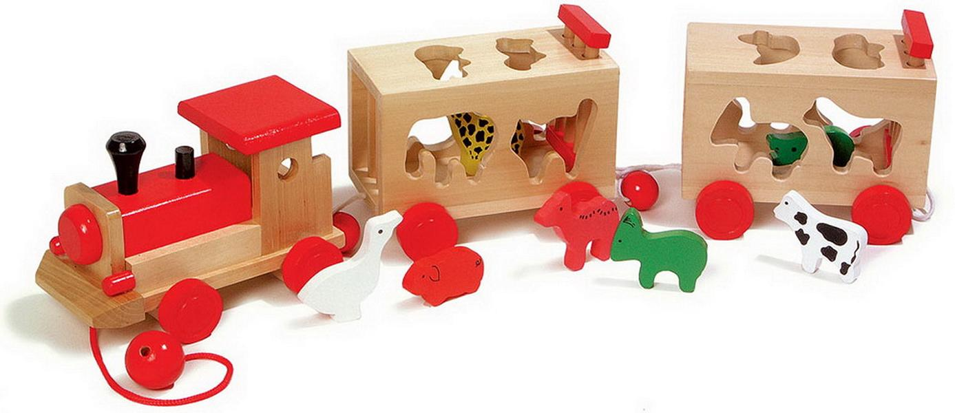 Wooden Toy Chest Shape-sorting Wooden Train