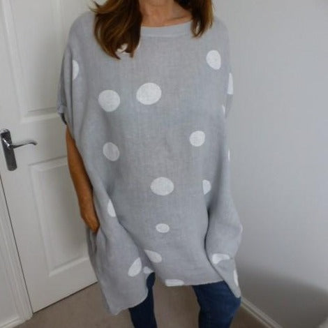 Eden Boutique Soft Grey Spotted Linen Tunic