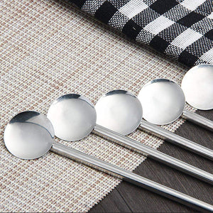 Stainless Steel Straw Spoons 12 Pack