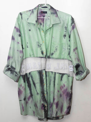 """Social Distancing"" Custom Dyed Pistachio & Purple Extra-Long Button Up / Cardigan"