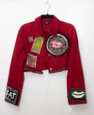"""We're All In this Alone"" Crimson Cropped Denim Jacket with Hand Painted Appliqués"