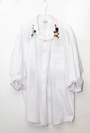 Long Sleeve White Dress Shirt w/ Peekaboo Back, Pins, & Painted Appliqués