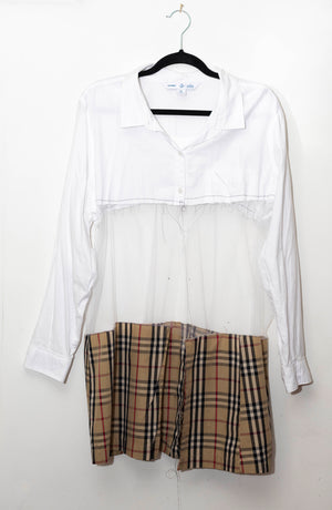 White/Beige Tartan Button up with peekaboo midriff