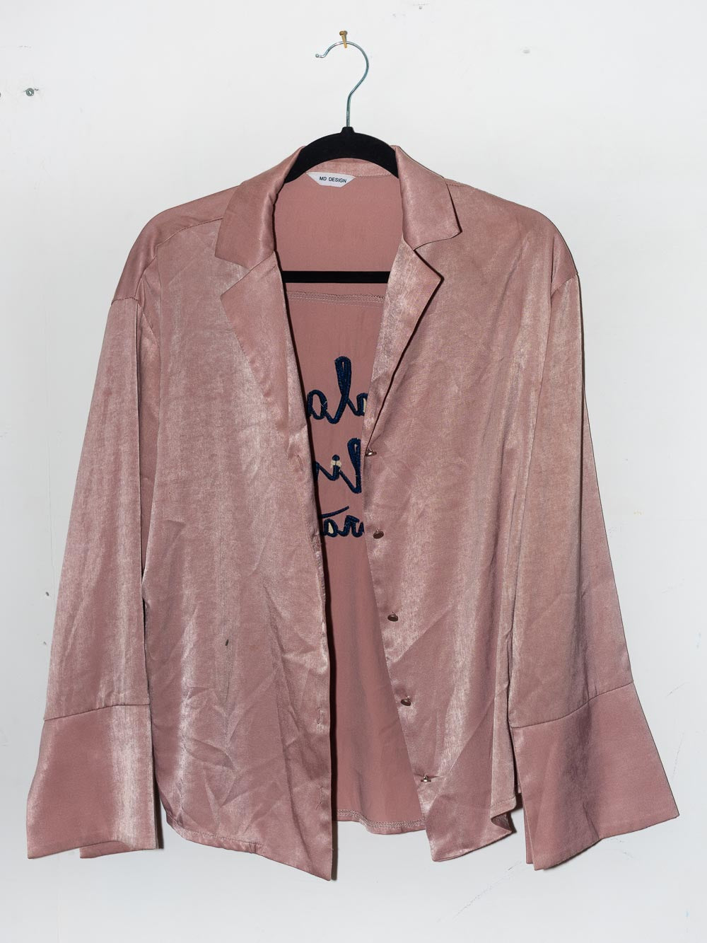 "Pink Satin ""Black Lives Matter"" dress shirt"