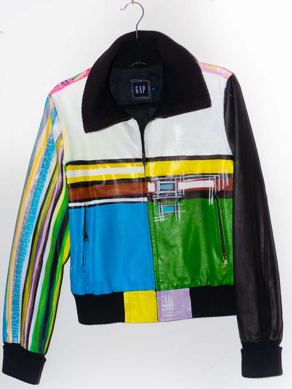 Hand Painted Kandinsky inspired Leather Bomber Jacket w/ large collar