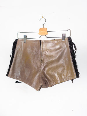 Hand Painted Mock Burberry Pattern vintage Leather Lace-up Booty Shorts