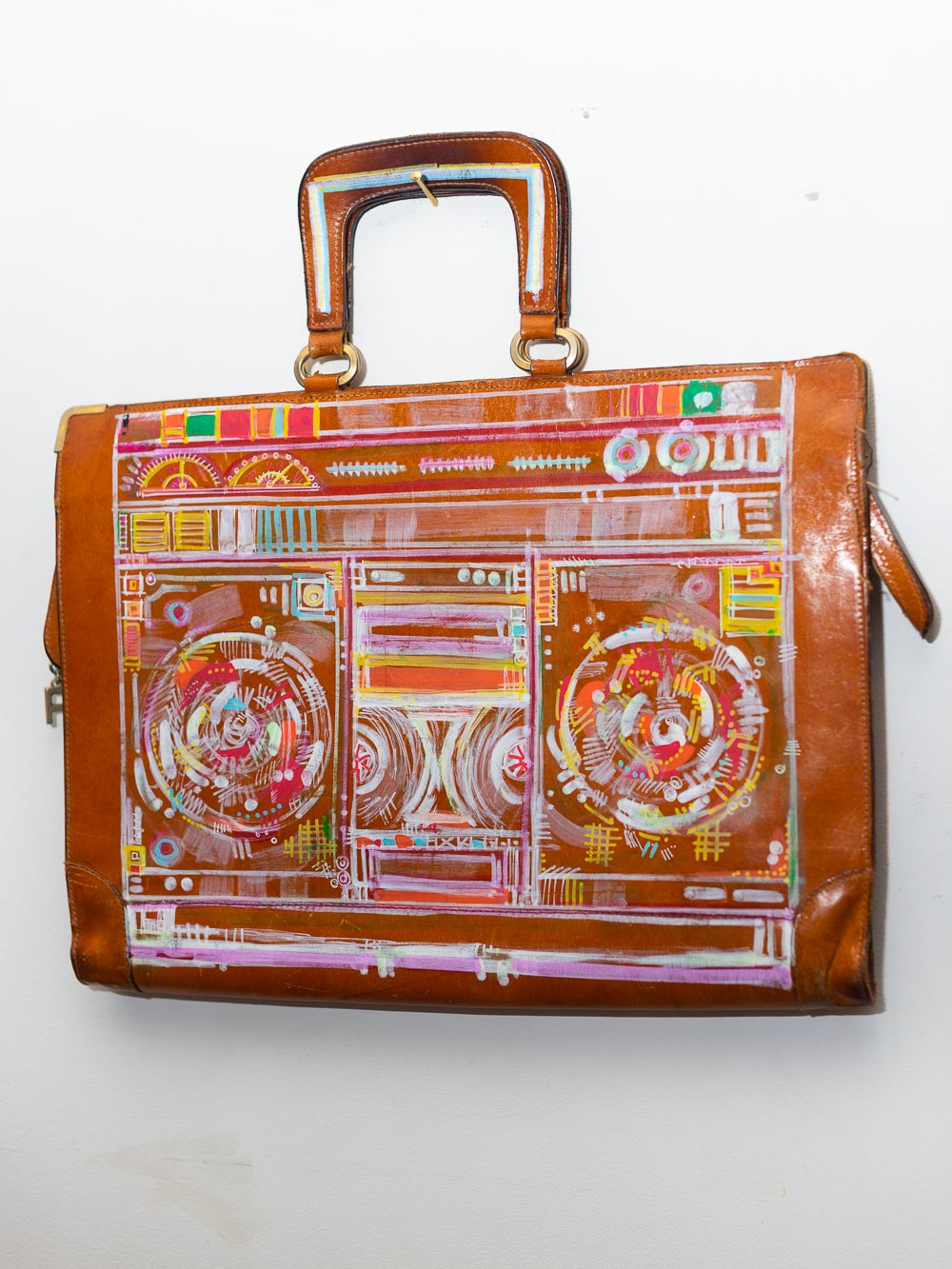 EXCLUSIVE Hand painted Boombox Vintage Brown Leather Briefcase
