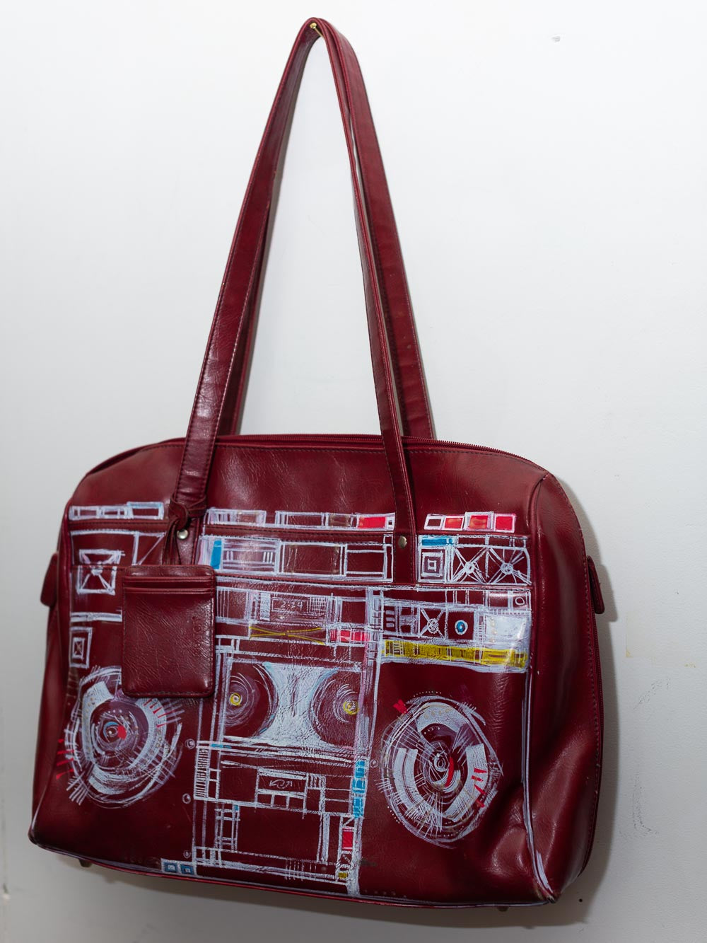 EXCLUSIVE Hand painted Boombox Vintage Red  Leather Handbag