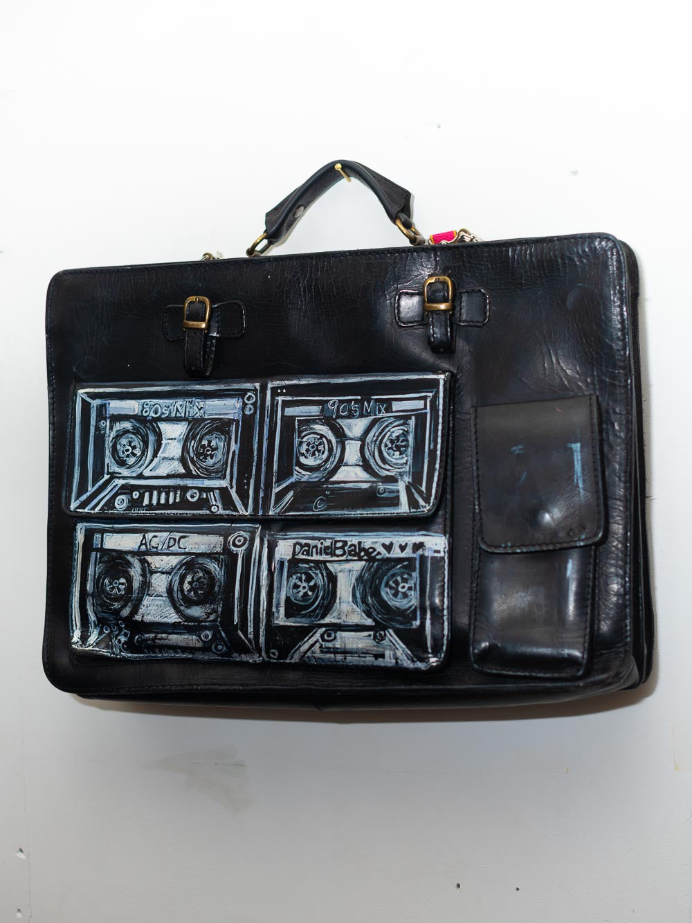 EXCLUSIVE Hand painted Boombox Vintage Black Leather Briefcase