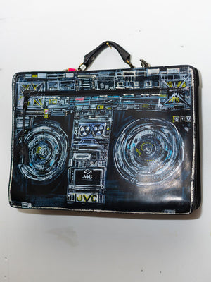 EXCLUSIVE Hand painted Boombox Vintage Leather Briefcase