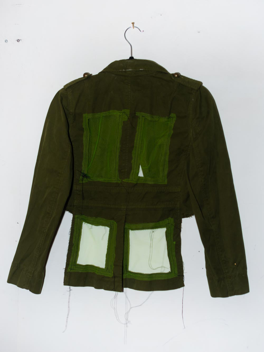 Reworked Cropped Vintage Green Jacket w/ peekaboo windows in back