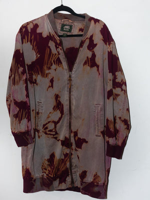 Purple Distressed Hand Dyed Oversized Bomber