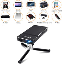 Load image into Gallery viewer, OTHA D16 Mini Projector, Pocket-Sized DLP Portable Projector, 50 ANSI Lumens Video Projector, Support 1080P HDMI Input Built-in Rechargeable Battery Stereo Speakers and Remote Control Movie Projector