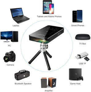 Mini Projector OTHA D05E Android 7.1 DLP Projector Rechargeable Portable Pocket Projectors Supports 1080P Full HD Videoprojector with tripod IR remote control