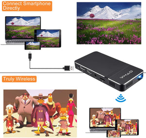 OTHA D16 Mini Projector, Pocket-Sized DLP Portable Projector, 50 ANSI Lumens Video Projector, Support 1080P HDMI Input Built-in Rechargeable Battery Stereo Speakers and Remote Control Movie Projector