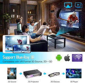 Mini Projector OTHA V5 Portable Android Projectors Support 3D DLP-Link 4K 1080P Full HD Videoprojector 3800 Lumens WXGA Compatible with Fire TV Stick AV HDMI USB by OTHA