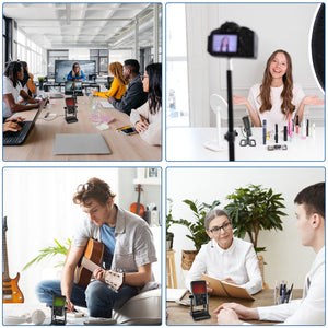 Webcam with microphone and ring light, 2K USB camera for PC/MAC/laptop/desktop, streaming web camera with fixed focus, automatic light correction for video chat and recording, conference, games