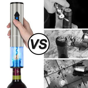 OTHA Electric Wine Openers Set-Battery Powered Automatic Corkscrew Wine Bottle opener 4in1 with Foil Cutter,Bottle Pourer&Wine Aerator,Vacuum Pump Sealer with Date Marker.Stainless Steel