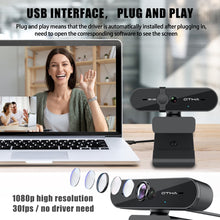 Load image into Gallery viewer, 1080P Webcam with Microphone, OTHA M6 USB Desktop Laptop Computer Web Camera with Plug and Play 30fps, for Windows Mac OS, Video Streaming,Conference,Calling,Game, Online Classes,Skype,YouTube
