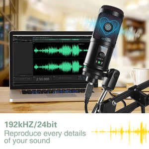 OTHA USB Microphone PC Laptop Microphone 192KHZ/24Bit, Professional Condenser Microphone Kit with Noise Reduction, Adjustable Scissor Arm Stand, Shock Mount for Podcast, YouTube, Gaming Streaming