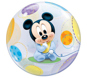 Baby Mickey Mouse Balloon perfect for baby shower, newborn hospital delivery, welcome home arrival. We deliver to the Raleigh area and some parts of the Triad in NC.